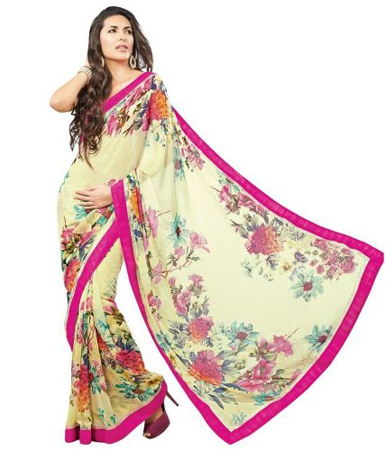 Fancy Sarees-Off White Floral Saree 25