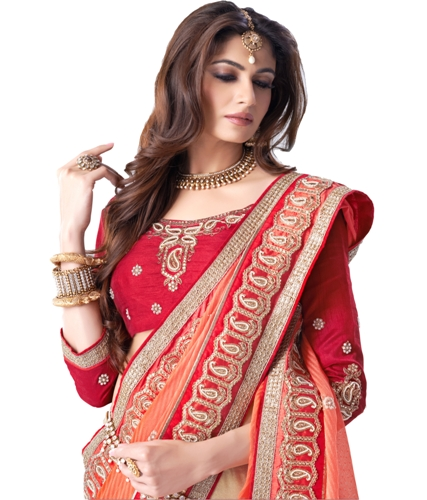 Fancy Sarees-Orange And Cream Color Saree For Red Blouses 10