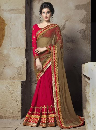 Fancy Sarees-Red And Golden Saree 17