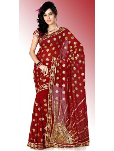 Fancy Sarees-Red Fancy Designer Saree 6