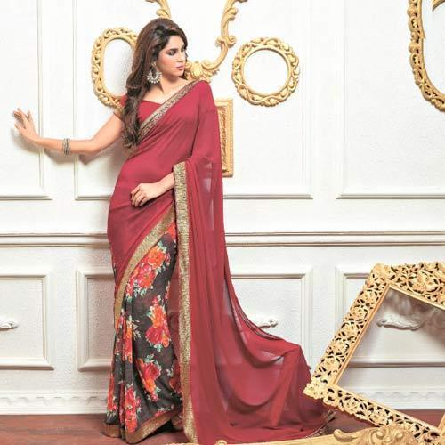 Fancy Sarees-Red Saree With Floral Pattern 7