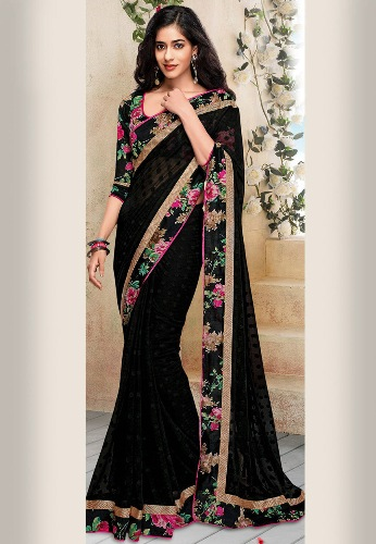 Georgette Sarees-Black Faux Georgette Saree With Floral Border 07