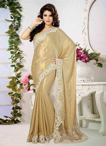 Georgette Sarees-Golden Shimmer Georgette Saree With Embroidery Border 08