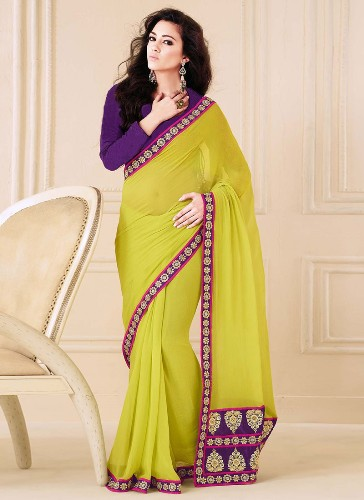 Georgette Sarees-Green And Violet Faux Georgette Designer Saree 03