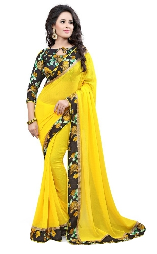 Georgette Sarees-Lemon Yellow Coloured Georgette Saree With Laced Border 014