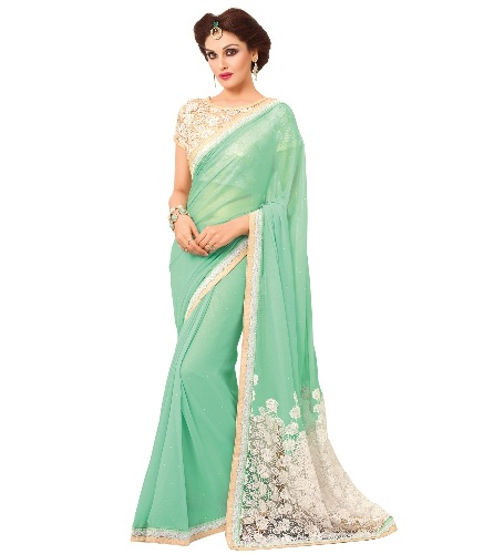Georgette Sarees-Light Green And White Designer Georgette Saree 013