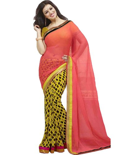 Georgette Sarees-Multi Coloured Printed Georgette Half And Half Saree 05