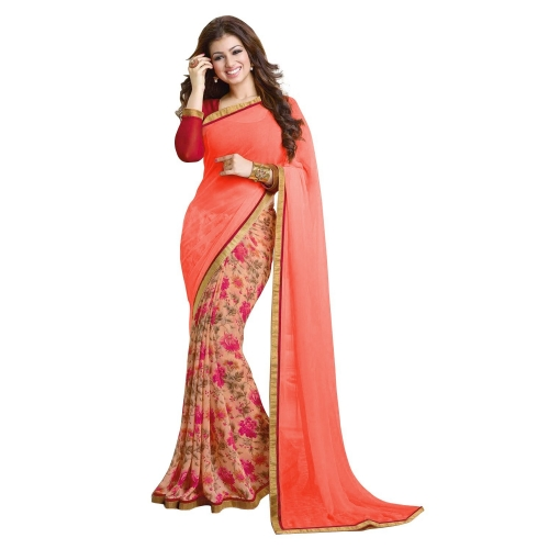 Georgette Sarees-Peach Floral Printed Georgette Saree 02