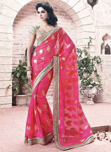 Georgette Sarees-Pink Georgette Saree With Intricate Work 09