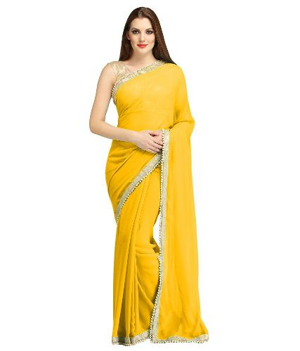 Georgette Sarees-Plain Yellow Georgette Saree 012