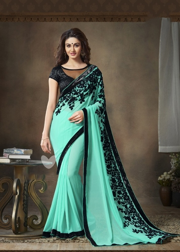Georgette Sarees-Sea Green Coloured Georgette Party Wear Saree 015