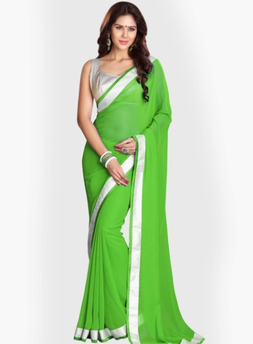 Georgette Sarees-Vibrant Green Georgette Saree With Silver Border