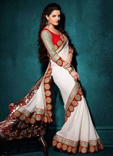 Georgette Sarees-White Embroidery Georgette Saree 4