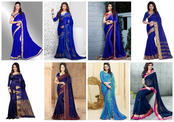 20 Stunning Blue Sarees In Many Shades And Designs Styles At Life