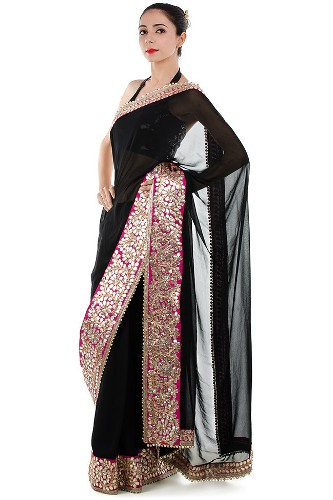 Gota Work Sarees-Black Gota Lace Saree 7