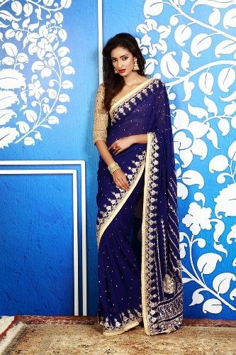 Gota Work Sarees-Blue Gota Patti Saree 4
