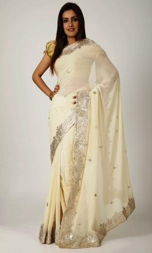 Gota Work Sarees-Cream Gota Patti Sari 5