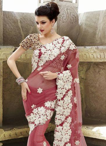 Gota Work Sarees-Pink Net Gota Embellished Saree 6