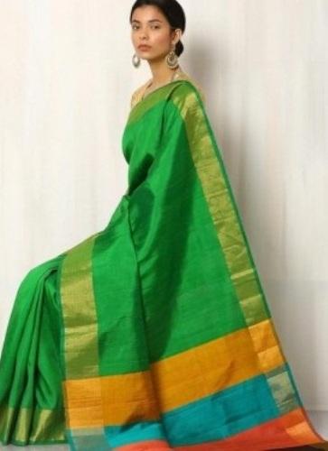 Green Hand-Woven Pure Kosa Silk Saree