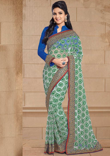 Green Net Brasso Saree 4