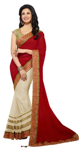 Half Sarees-13 Dark Red And Off-White Chiffon-Net Half