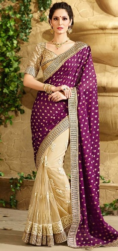 Half Sarees-16 Beige And Purple Half-Half Saree