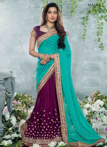 Half Sarees-2 Purple And Turquoise Half And Half Saree