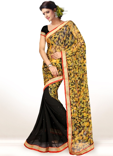 Half Sarees-6 Black And Yellow Half-Half Floral Printed Saree