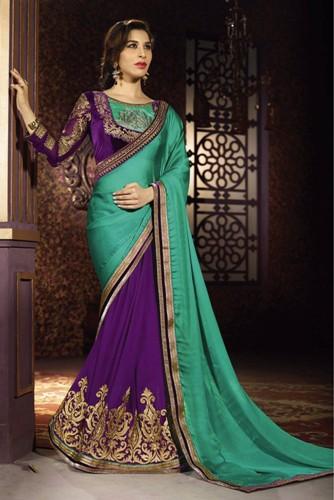 Half Sarees-7 Green-Purple Half And Half Chiffon Satin Saree