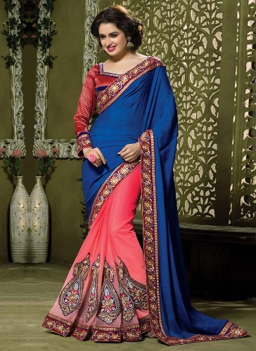 Half Sarees-8 Peach And Blue Chiffon And Soft Net Half Saree