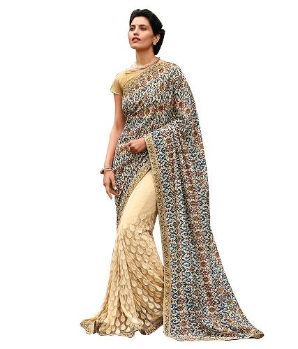 Half Sarees-9 Half And Half Beige Saree With Prints And Zari Embroidery
