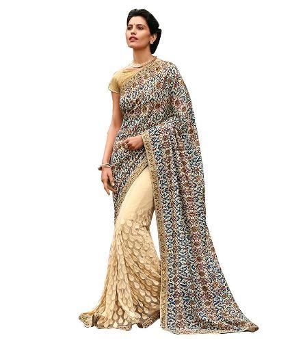 Half Sarees-9 Half And Half Beige Saree With Prints And Zari Embroidery