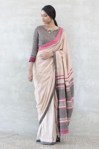 Handloom Sarees-Off-White Handloom Saree 1