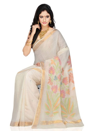 Handloom Sarees-White Floral Pattern Handloom Saree 3