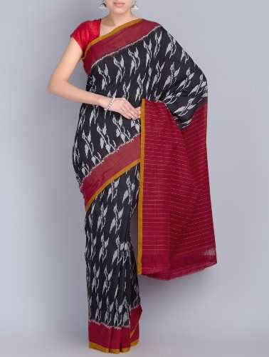 Handwoven Saris-Black And Red Ikat Cotton Saree