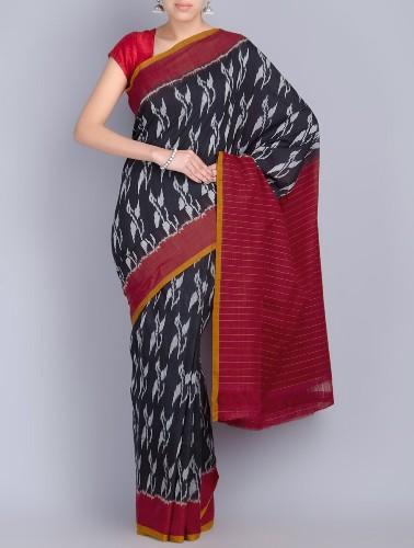 Handwoven Saris-Black And Red Ikat Cotton Saree