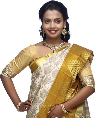 Handwoven Saris-Cream And Gold kancheepuram Handwoven Saree