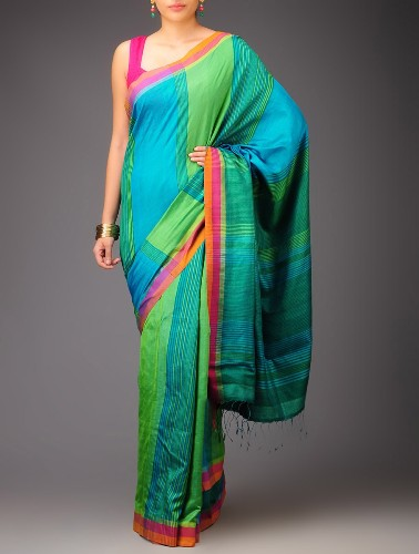 Handwoven Saris-Green Hues Handwoven Silk Saree 3