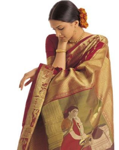 Handwoven Saris-Handwoven South Indian Silk Saree1