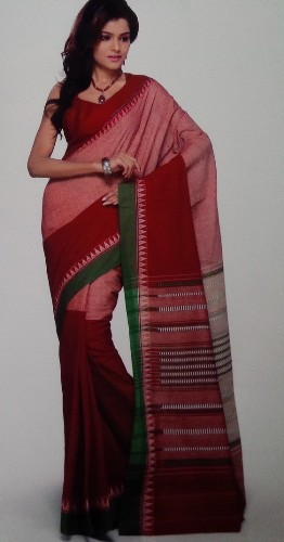 Handwoven Saris-Red And Pink Handwoven Cotton Sari 2