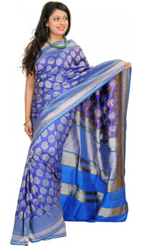 Handwoven Saris-Royal Blue Banarasi Saree