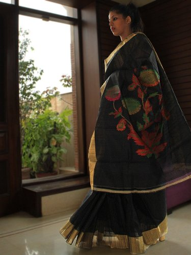 Handwoven Saris-Tussar Silk Black Handwoven Saree