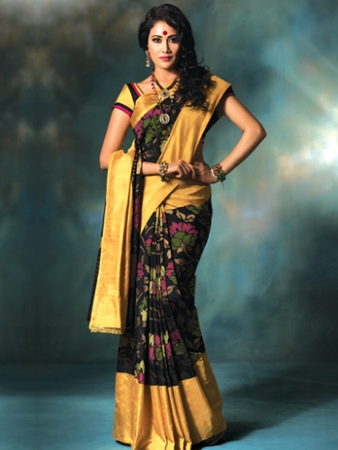 Handwoven Saris-Uppada Silk Black And Yellow Saree