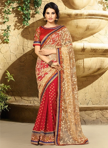 Jaquard Sarees-Georgette And Net Jacquard Sari 9