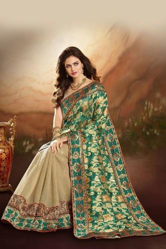 Jaquard Sarees-Green And Cream Banarasi Jacquard Sari 8