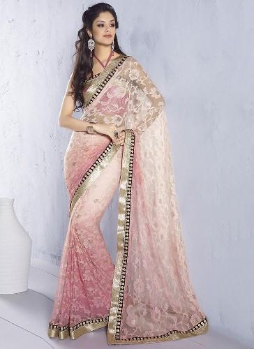 Jaquard Sarees-Light Pink Net Jacquard Sari 8