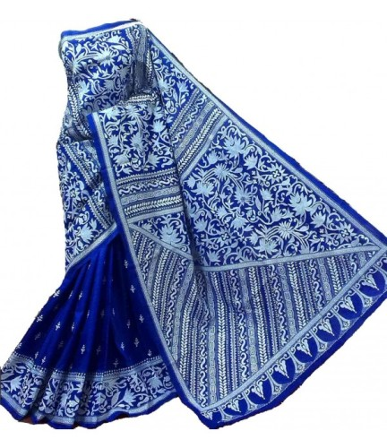 Kantha Sarees-Blue Silk Saree With White Kantha Work 8