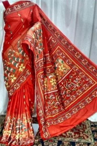 Kantha Sarees-Terracotta Silk Sari In Kantha Work 3