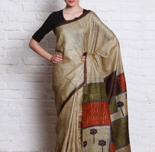 Kosa Sarees-Beige And Brown Kosa Silk Hand Woven Saree