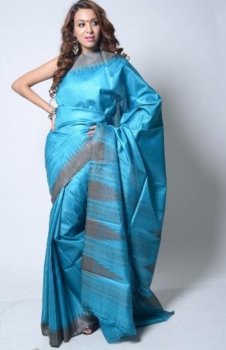 Kosa Sarees-Blue And Grey Temple Design Kosa Silk Saree 07